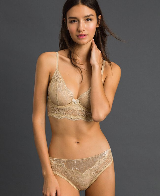 Culotte en dentelle lamée et velours Jaune Or Femme 192LL6H66-01