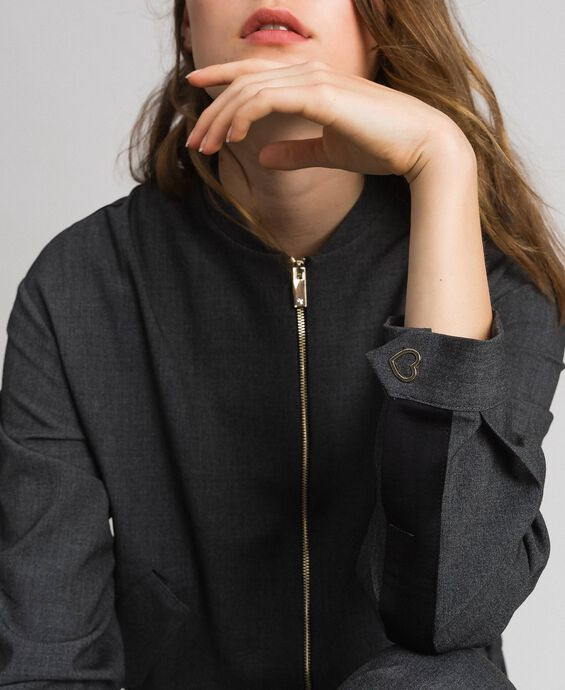 Bomber jacket with zip and satin yoke