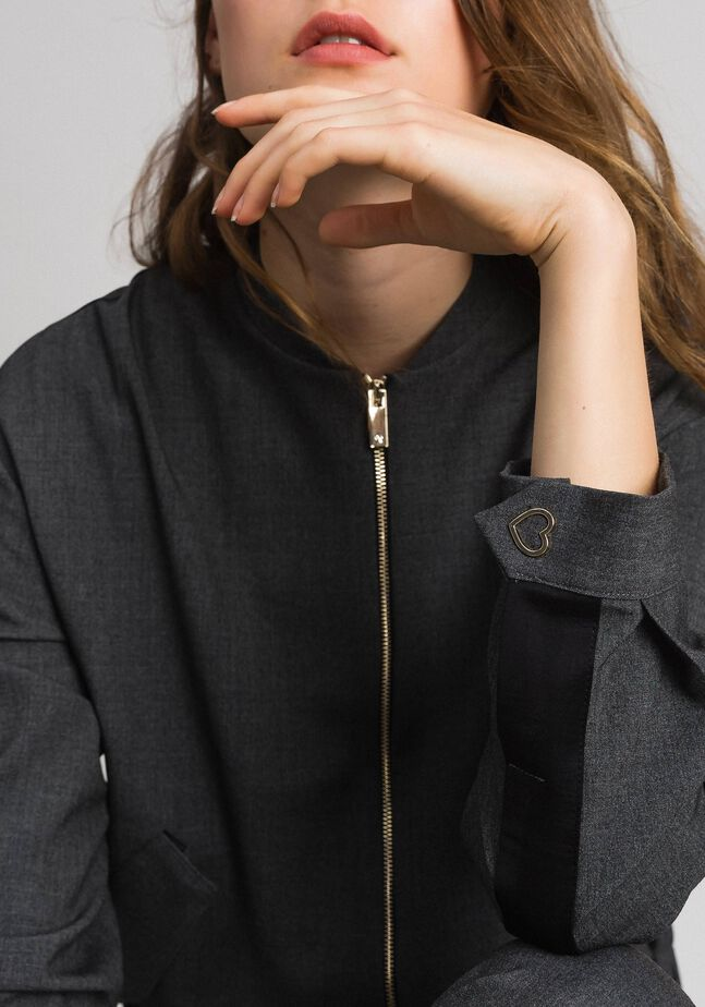 Bomber jacket with zip and satin yoke
