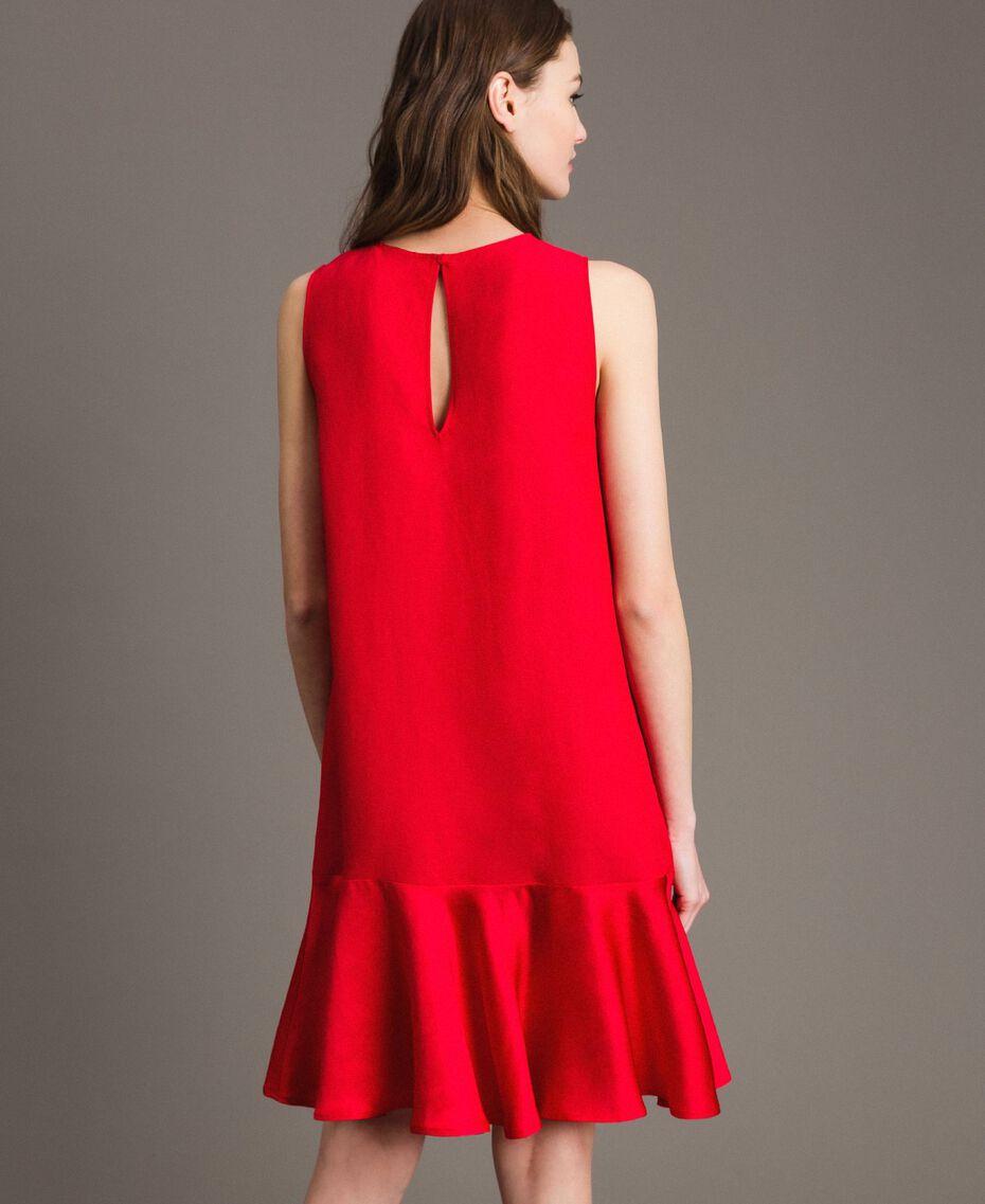 """Leinen-Kleid aus Enver-Satin mit Volant """"Lipstick Red"""" Rot Frau 191TT2304-03"""