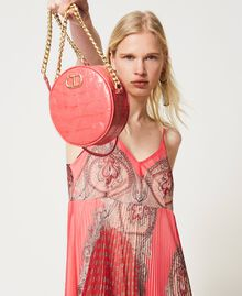 "Leather shoulder bag with crocodile print ""Neon"" Pink Croc Print Woman 211TD8034-0S"