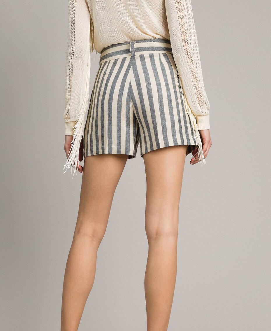 "Two-tone striped linen shorts Two-tone Black / ""Marzipan"" Beige Woman 191TT2312-03"