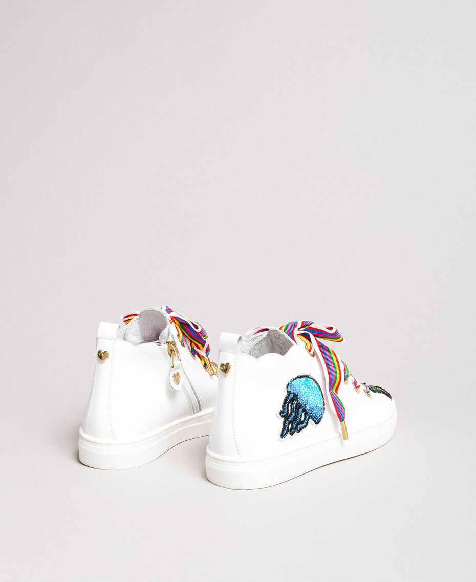 Leather sneakers with patch White Child 191GCJ146-02