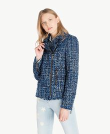 Bouclé biker jacket Multicolour Lapis Blue Woman JS82MC-02