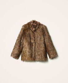Manteau en fausse fourrure Camel Femme 202TT2051-0S