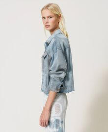 Denim jacket with bezel fringes Denim Woman 211TT2380-02