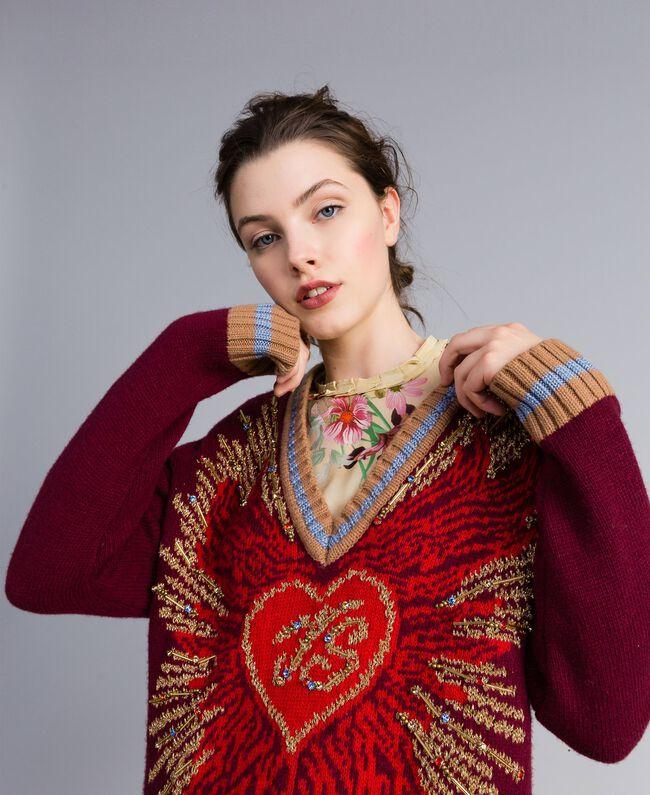 Jacquard wool blend dress Bordeaux Woman PA83HQ-04