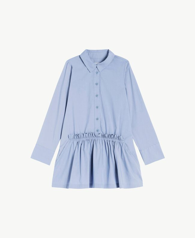 Kleid aus Popeline Unendlichkeits-Azur Kind GS82QR-01