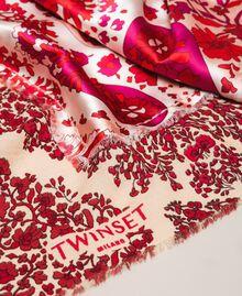"Paisley print kefiah ""Lava"" Red Cashmere Print/ ""Blossom"" Pink Woman 201TA436C-02"