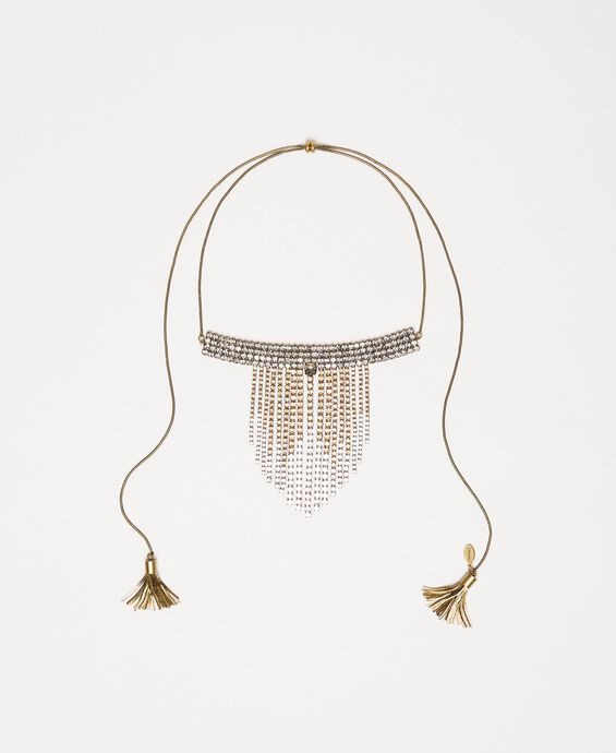 Adjustable necklace with fadeout rhinestones