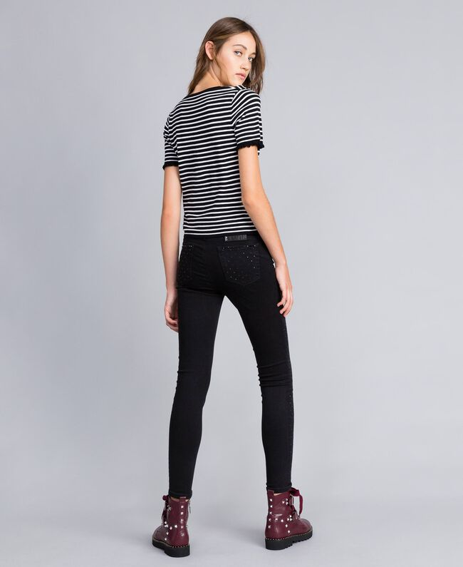 Two-tone striped jumper with ruches Black / Mother-of-pearl White Stripe Woman JA83BN-03