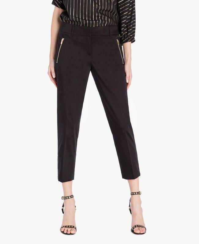 Pantalon satin Noir Femme TS826B-01
