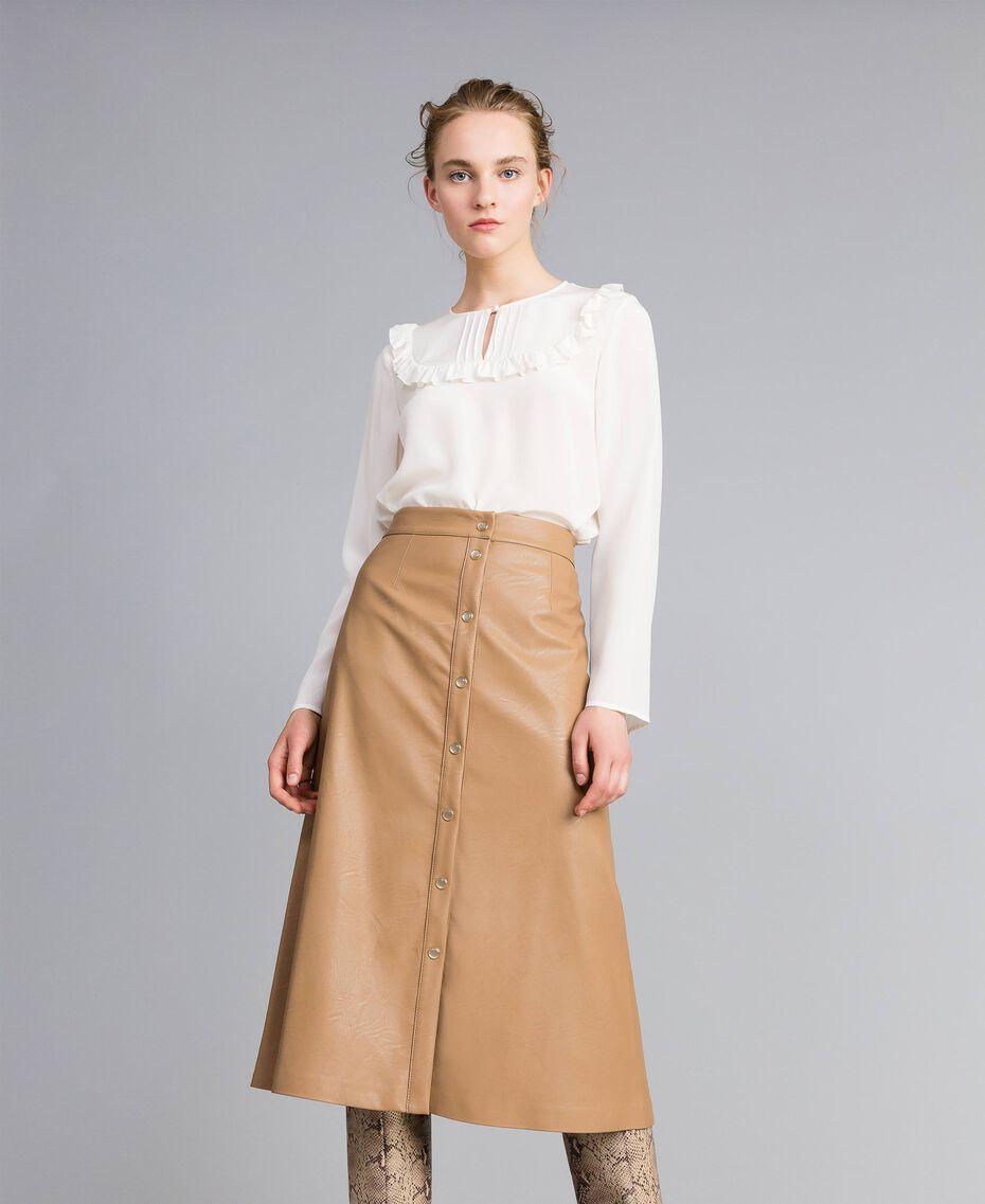Blusa in seta con micro ruches Bianco Neve Donna PA82EJ-01