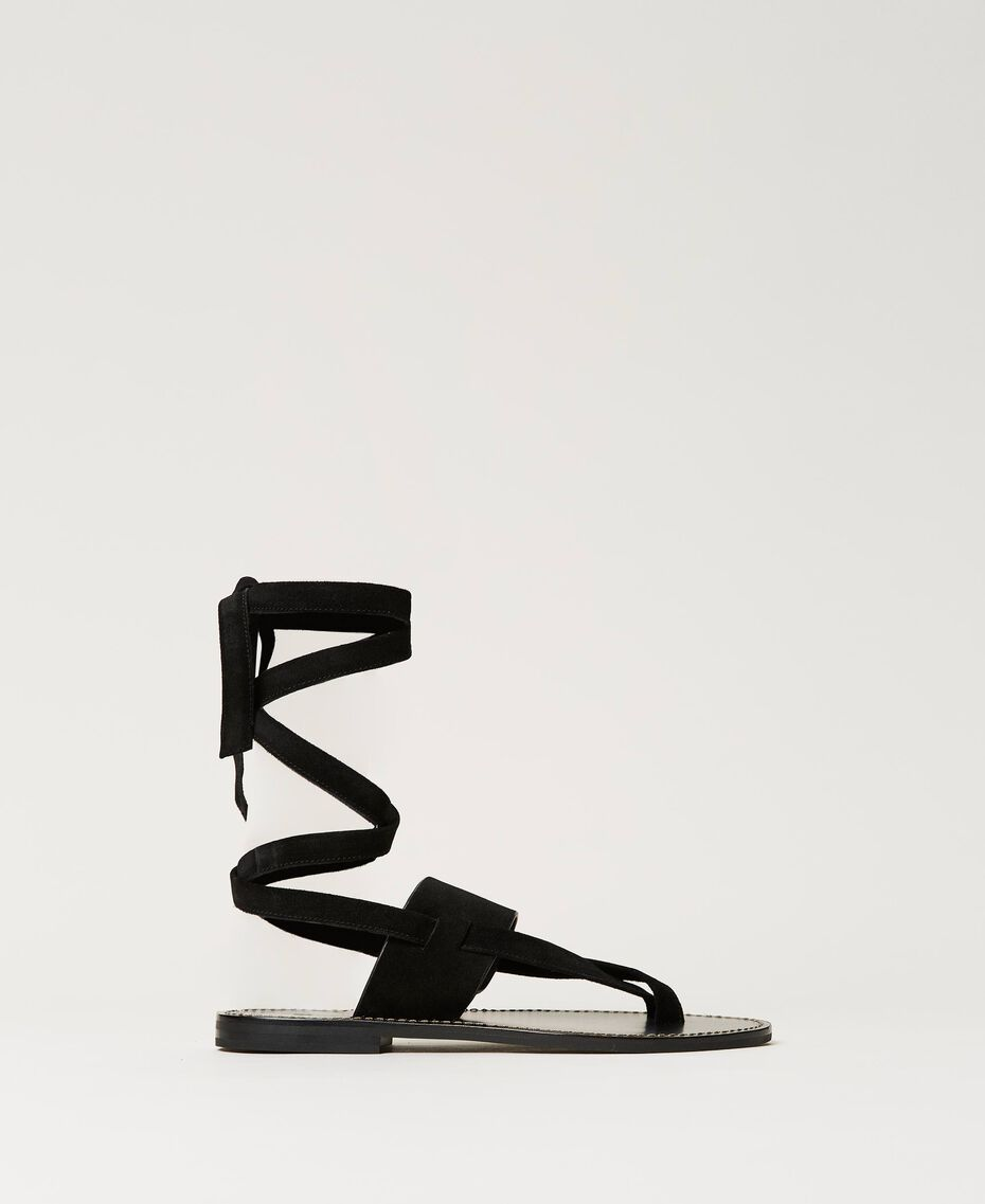 Suede thong sandals Black Woman 211TCT060-03