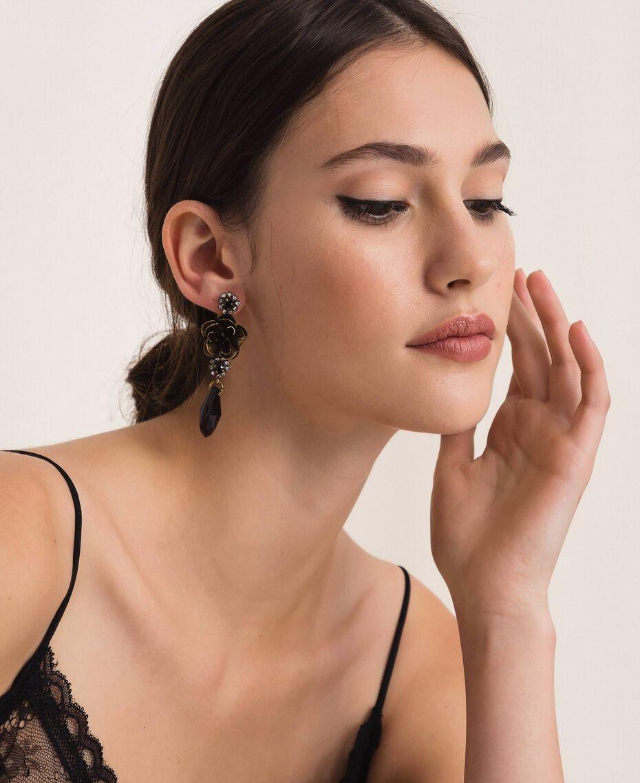 Boucles d'oreille avec fleur et pendentif en goutte Noir Femme 201TA4308-0S