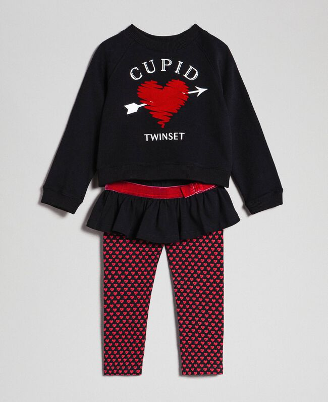 Heart sweatshirts and printed leggings Black / Tiny Heart Print Child 192GB2532-01