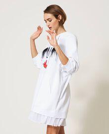 """Maxisweatshirt """"Polaris"""" mit Federn und Volant Weiß Frau 211MT219B-04"""