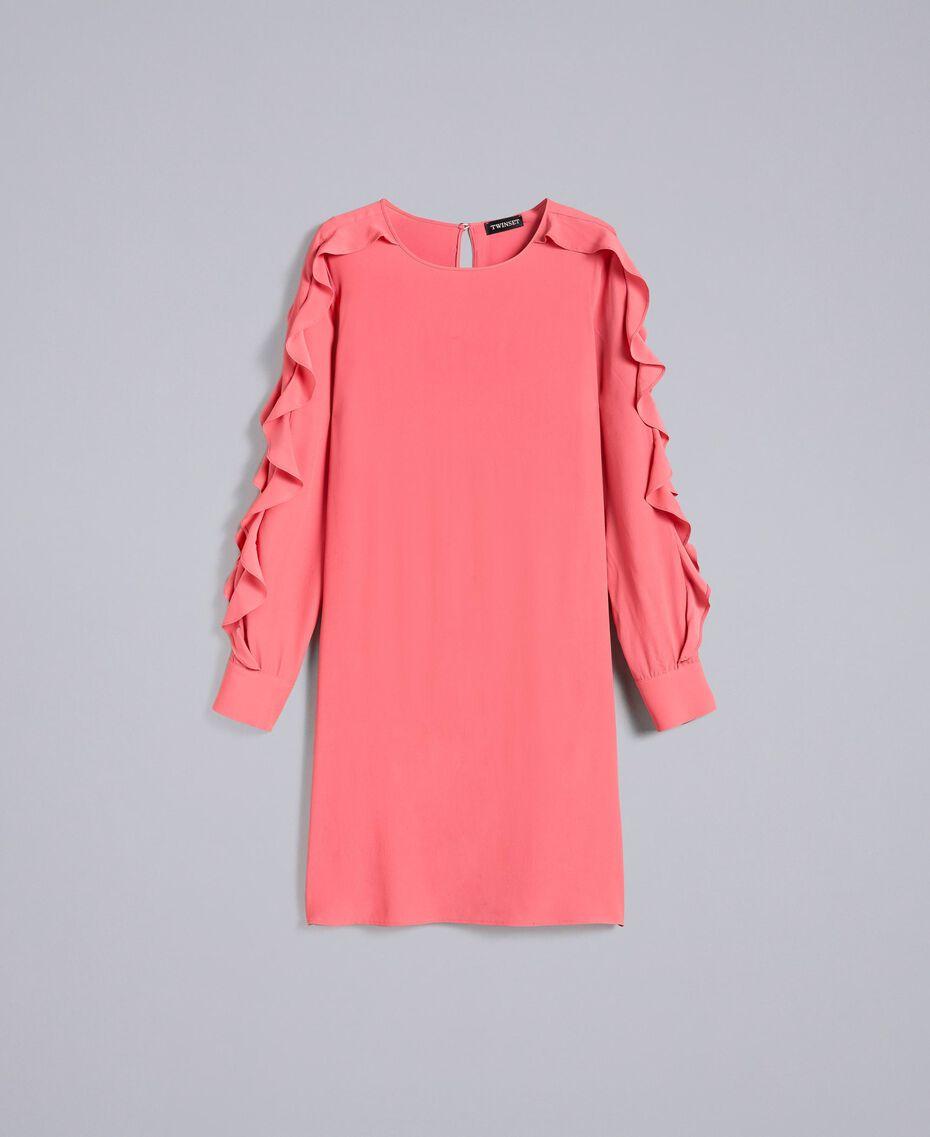 Kurzes Kleid aus Seidenmischung mit Volant Royal Pink Rosa Frau PA828A-0S