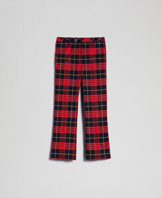 Pantalon évasé en laine à carreaux