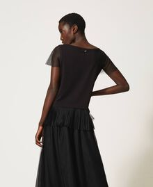 T-shirt with pleated flounce Black Woman 202MP2391-04