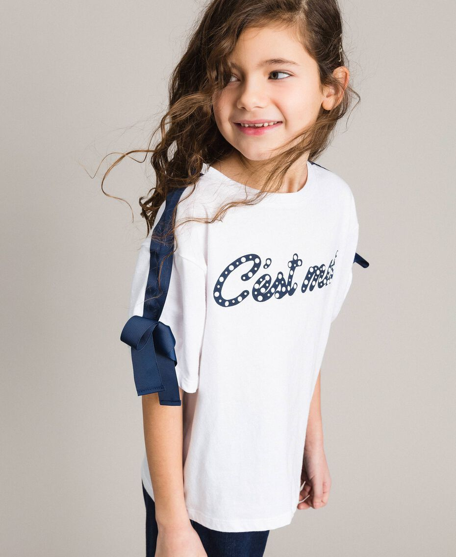 Jersey T-shirt with print and bows Two-tone Optical White / Indigo Child 191GJ2210-0S