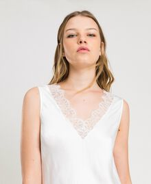 Slip dress in satin and lace Ivory Woman 191LL2DBB-04