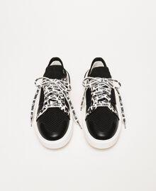 Baskets en filet avec détail animalier Bicolore Noir / Imprimé Animalier Femme 201MCP132-05