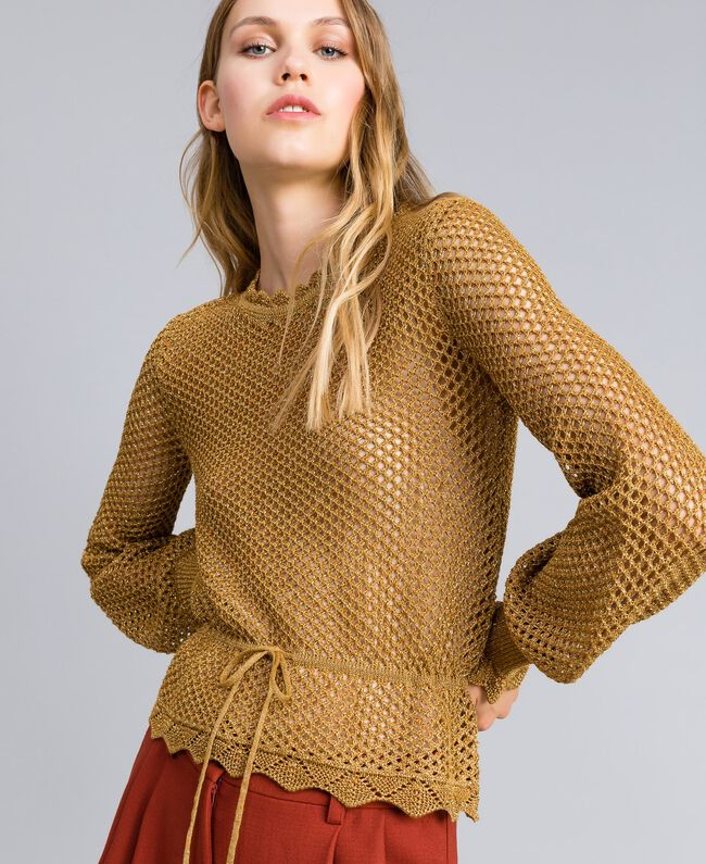 Pullover aus Lurex mit Netzmuster Gold Gelb Frau TA83EB-01