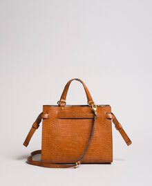 Crocodile print shopper Leather Brown Woman 191TA7122-03