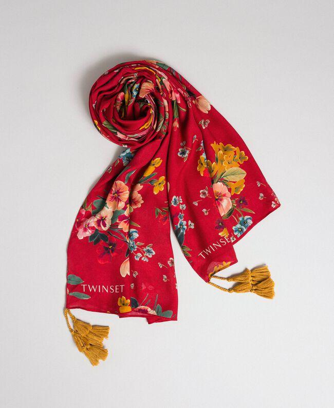 Écharpe avec imprimé floral et pompons Imprimé Fleurs des Champs Grenadier Femme 192TA4424-01