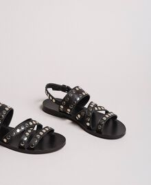 Leather sandals with studs Black Woman 191TCP04G-04