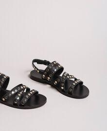 Leder-Sandalen mit Nieten Schwarz Frau 191TCP04G-04