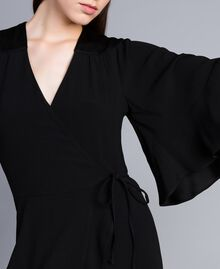 Envers satin mid-length dress Black Woman TA824B-05