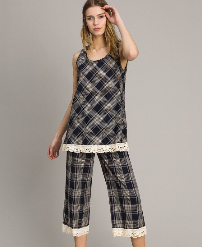 Check top with lace Blue Shadow Check Jacquard Woman 191ST2130-01