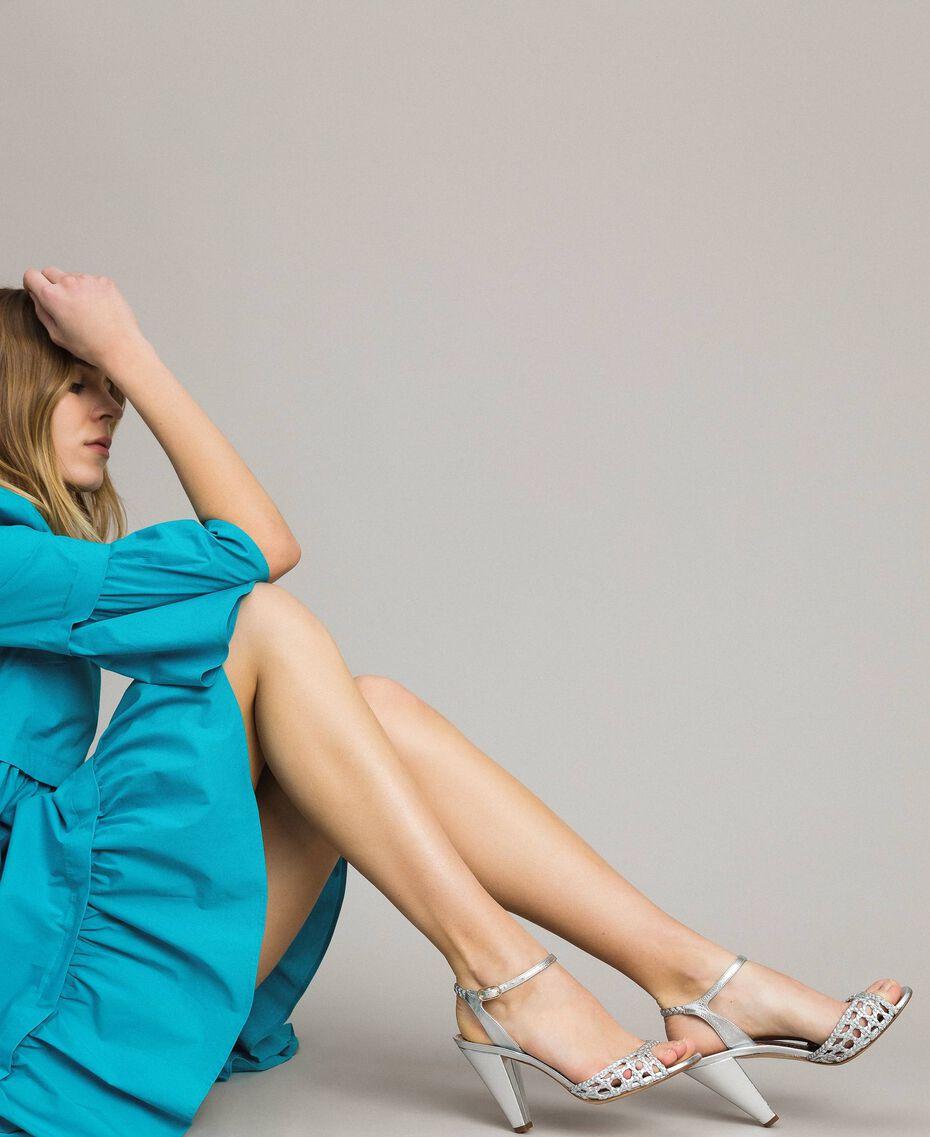 Sandales en cuir tressé laminé Argent / Nickel Femme 191TCT01J-0S