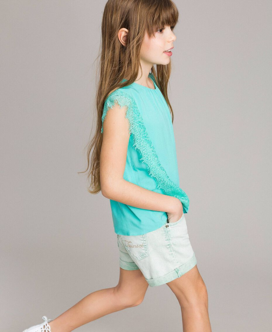 """Blouse in flowing fabric with lace """"Island Paradise"""" Light Blue Child 191GJ2432-02"""