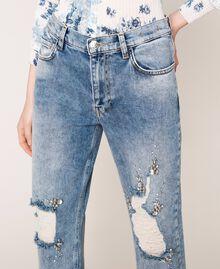Jeans con rotture e ricami Denim Blue Donna 201MT2266-05