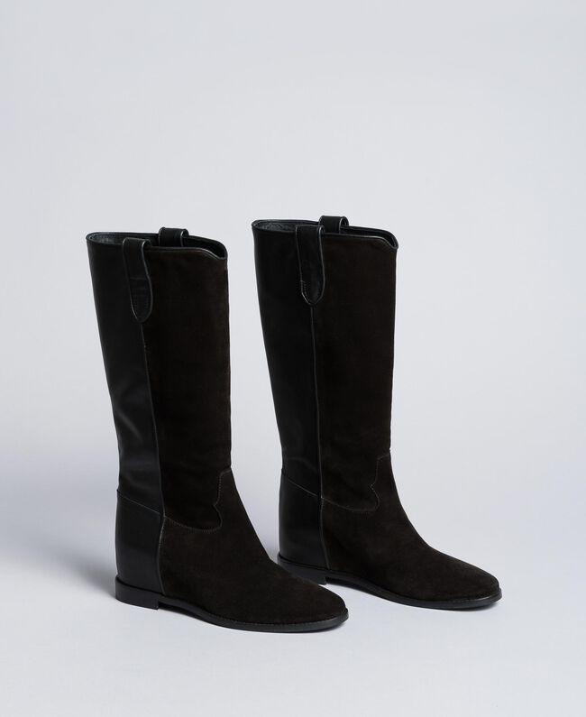 Bottines en cuir et croûte de cuir avec semelle compensée Noir Femme CA8TCE-01
