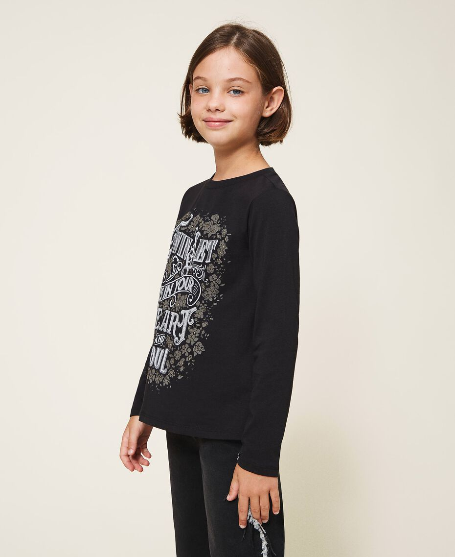 T-shirt with graphic pattern print Two-tone Black / Gothic Print Child 202GJ2354-02
