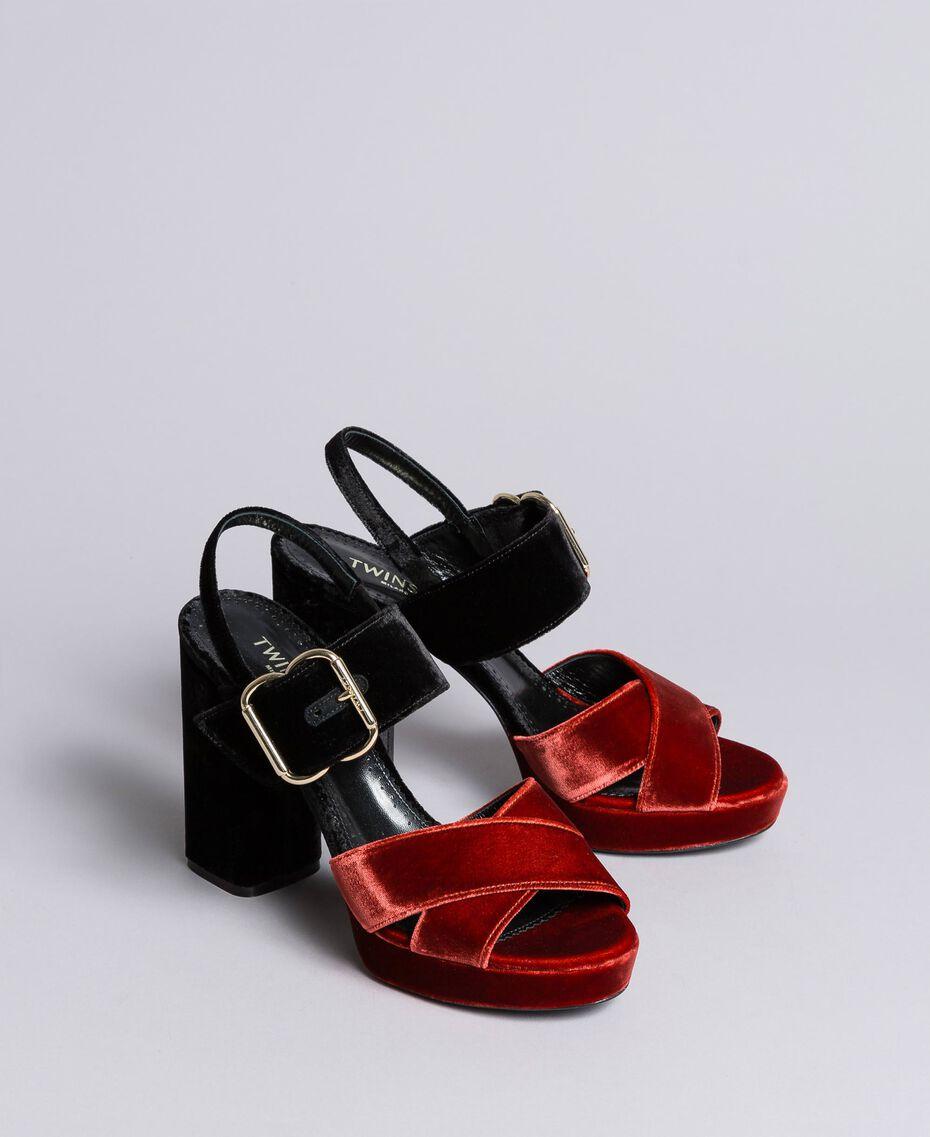 Sandales compensées en velours bicolore Bicolore Noir / Orange Brûlée Femme CA8THG-02