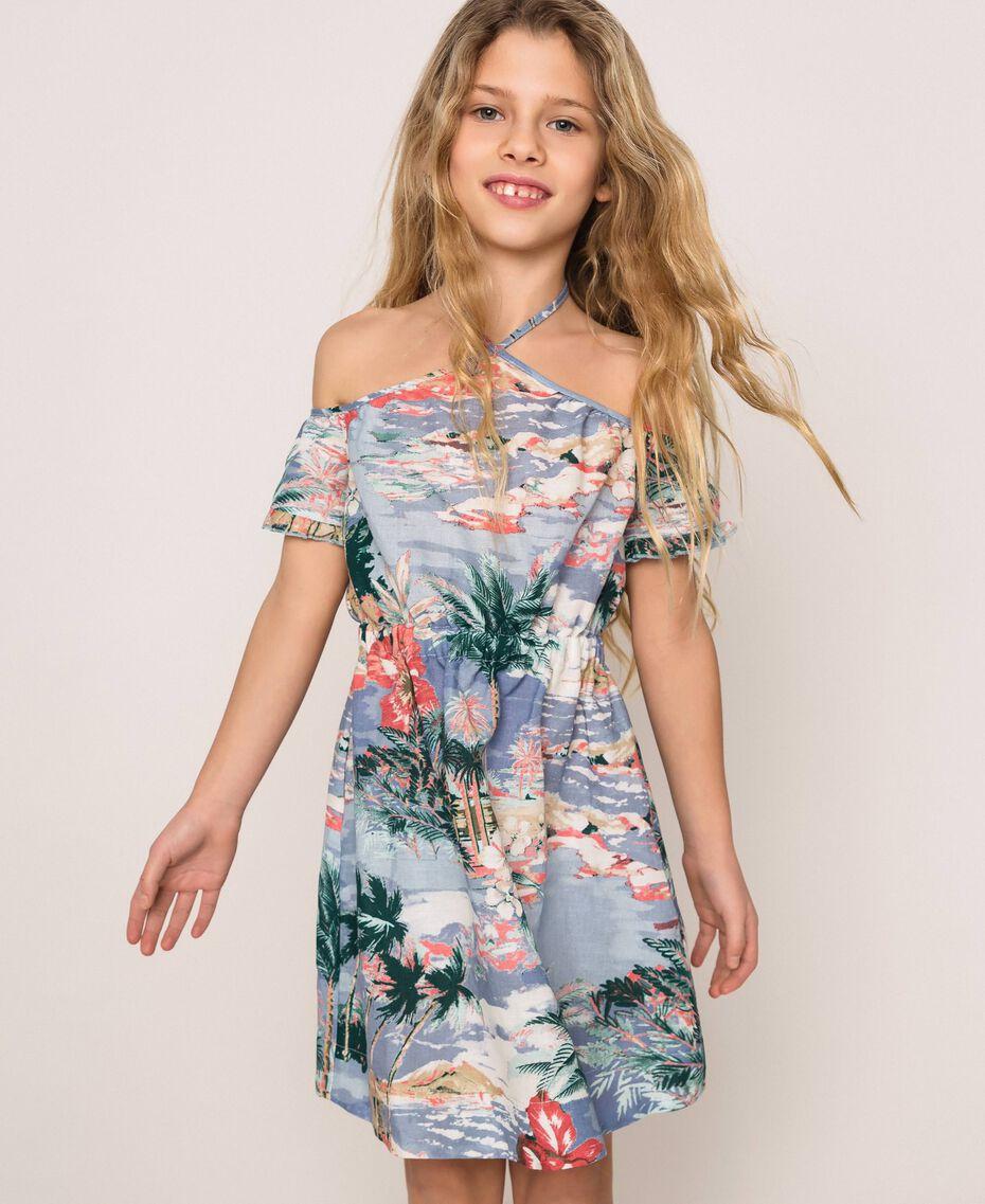"Linen blend printed dress ""Hawaii"" Blue Print Child 201GJ2342-01"