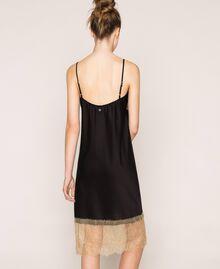"Satin slip dress with lace Two-tone Black / ""Hemp"" Beige Woman 201MP2131-03"