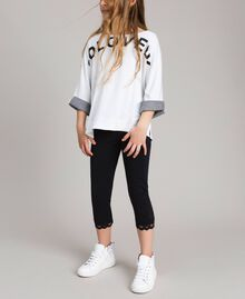 Jersey leggings with lace Black Child 191GJ2183-0S
