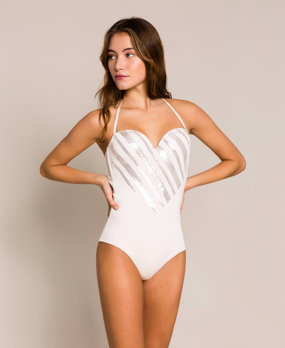 """One-piece swimsuit with sequins """"Milkway"""" Beige Woman 201LBMCZZ-01"""