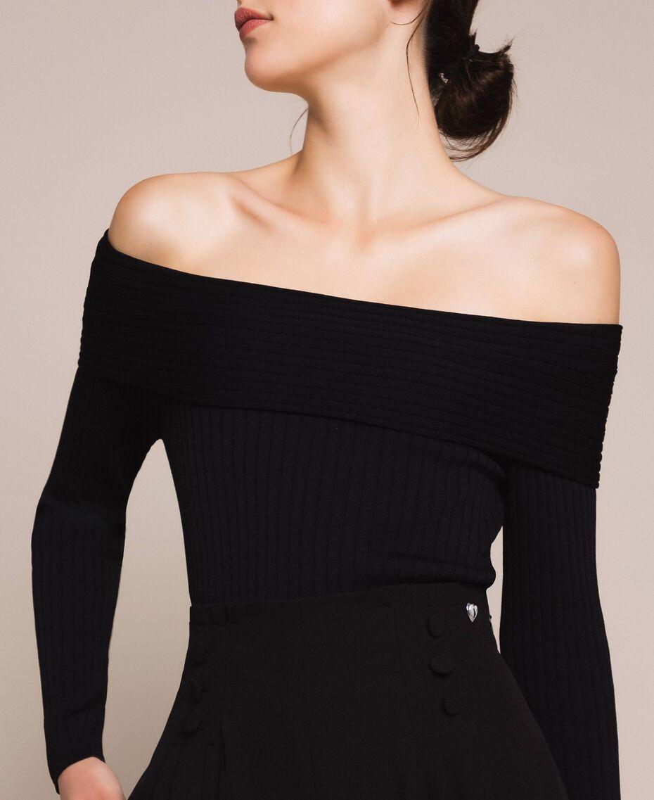 Crêpe de Chine high waist trousers Black Woman 201MP2110-05