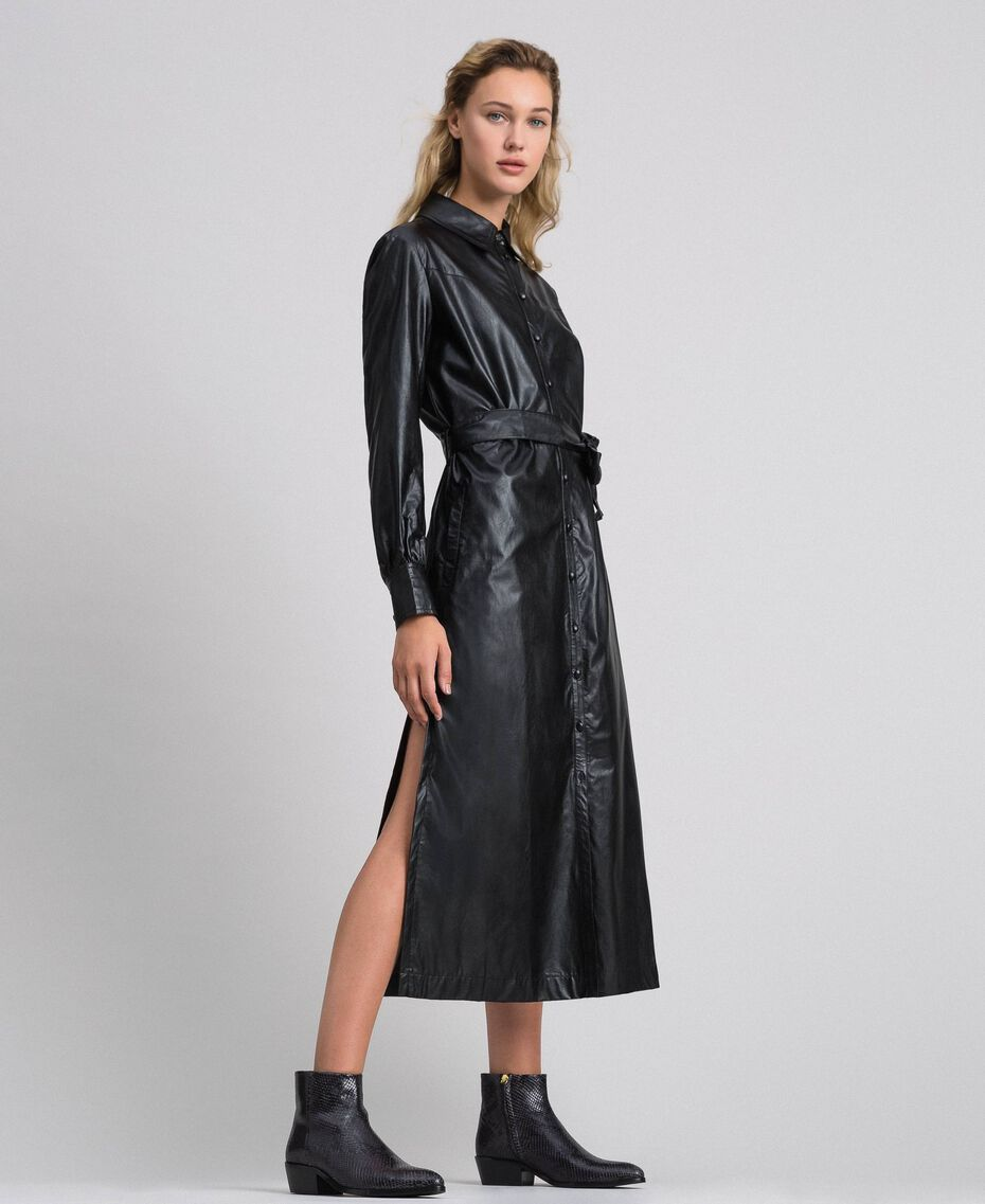 Faux leather long shirt dress Black Woman 192ST2010-02