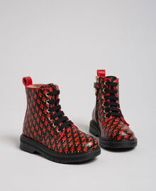 Leather combat boots with hearts Tiny Heart Print Child 192GCB028-01