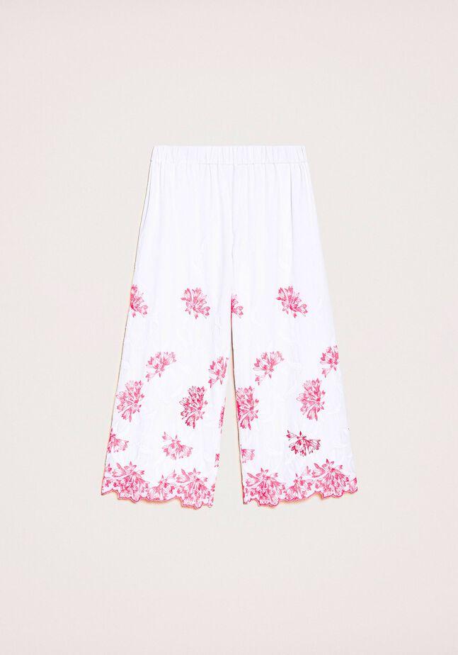 Укороченные брюки с вышивкой и фестончатым низом