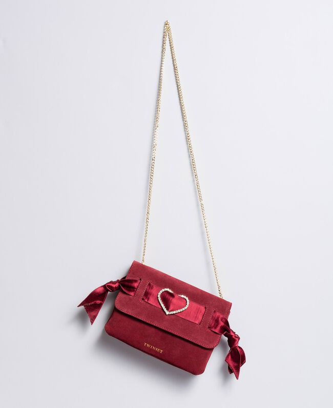 Suede shoulder bag with rhinestone heart Bordeaux Woman AA8PAA-01