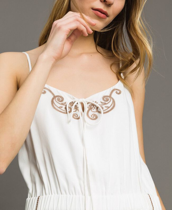 Short jumpsuit with shoulder straps and embroideries Ivory Woman 191LM2RDD-04